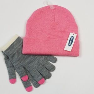 Old Navy knit hat and gloves